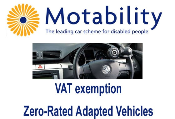 VAT exemption - Zero-Rated Adapted Vehicles – Motability